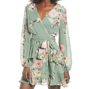 Love, Fire Sage Green Floral Tiered Wrap Dress XXL